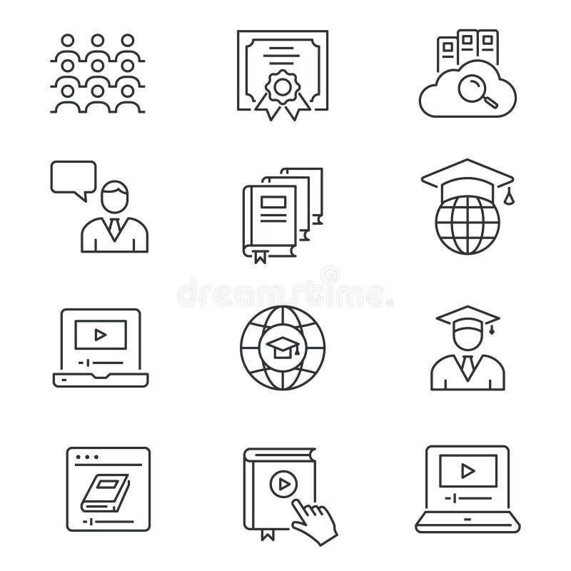 Ligne en ligne ic?nes d'?ducation r?gl?es Illustration noire de vecteur Course Editable illustration stock