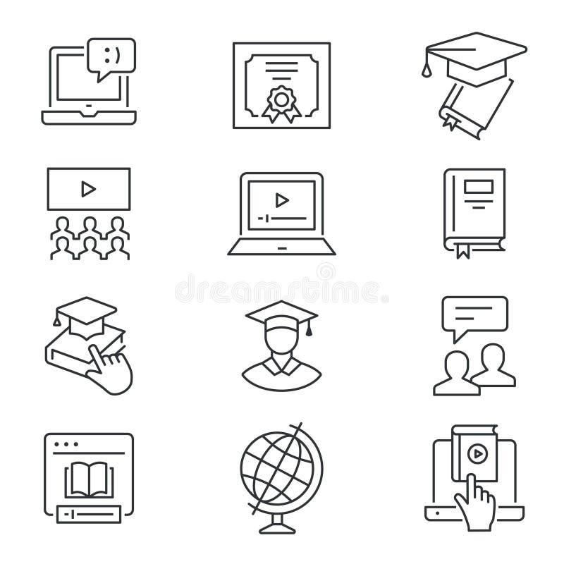 Ligne en ligne ic?nes d'?ducation r?gl?es Illustration noire de vecteur Course Editable illustration libre de droits