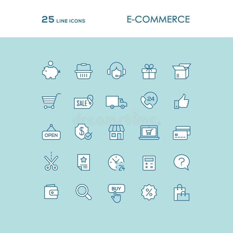 Ligne en ligne bleue icônes d'achats réglées illustration libre de droits