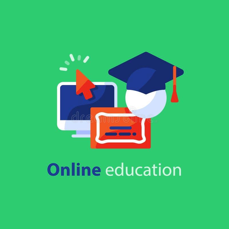 Ligne en ligne icônes, Internet de concept d'éducation apprenant des cours, étude éloignée illustration de vecteur