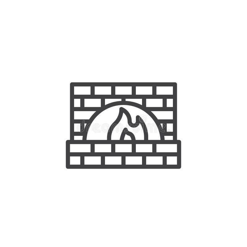 Ligne en pierre icône de four ou de cheminée illustration libre de droits
