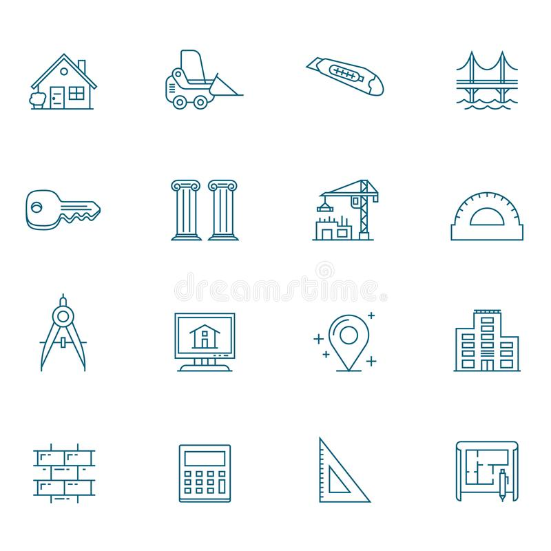 Ligne ensemble d'articles d'architecture d'icône illustration stock