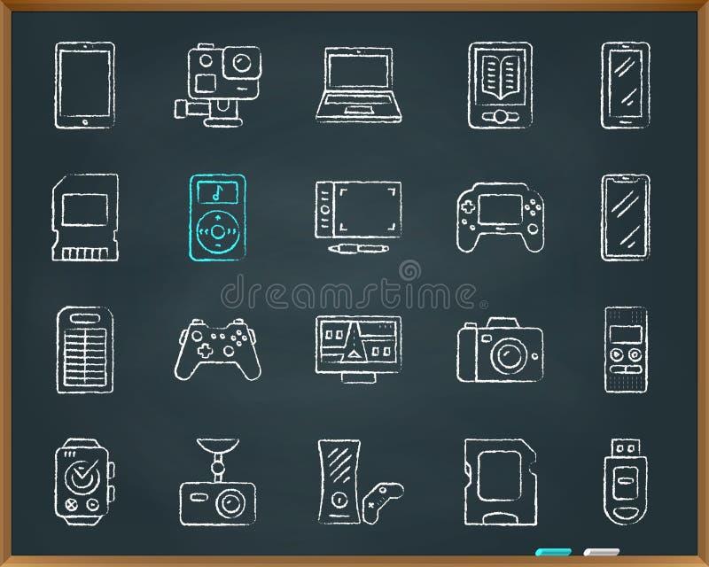 Ligne ensemble d'aspiration de craie de dispositif de vecteur d'icônes illustration stock