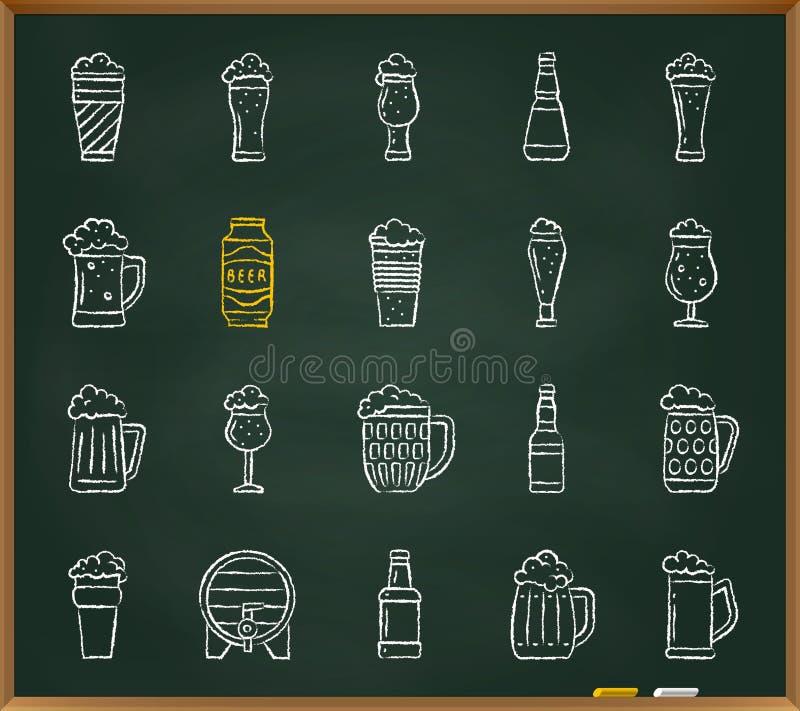 Ligne ensemble d'aspiration de craie de tasse de bière de vecteur d'icônes illustration de vecteur