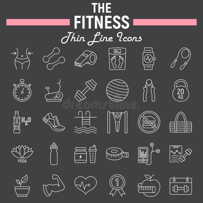 Ligne ensemble d'icône, collection de forme physique de symboles de sport illustration libre de droits
