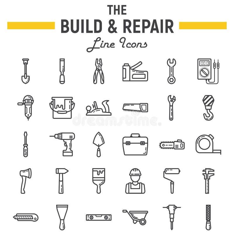 Ligne ensemble d'icône, signes construisez et de réparation de construction illustration libre de droits