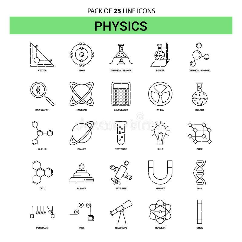 Ligne ensemble d'icône - style à tiret de physique d'ensemble 25 illustration de vecteur
