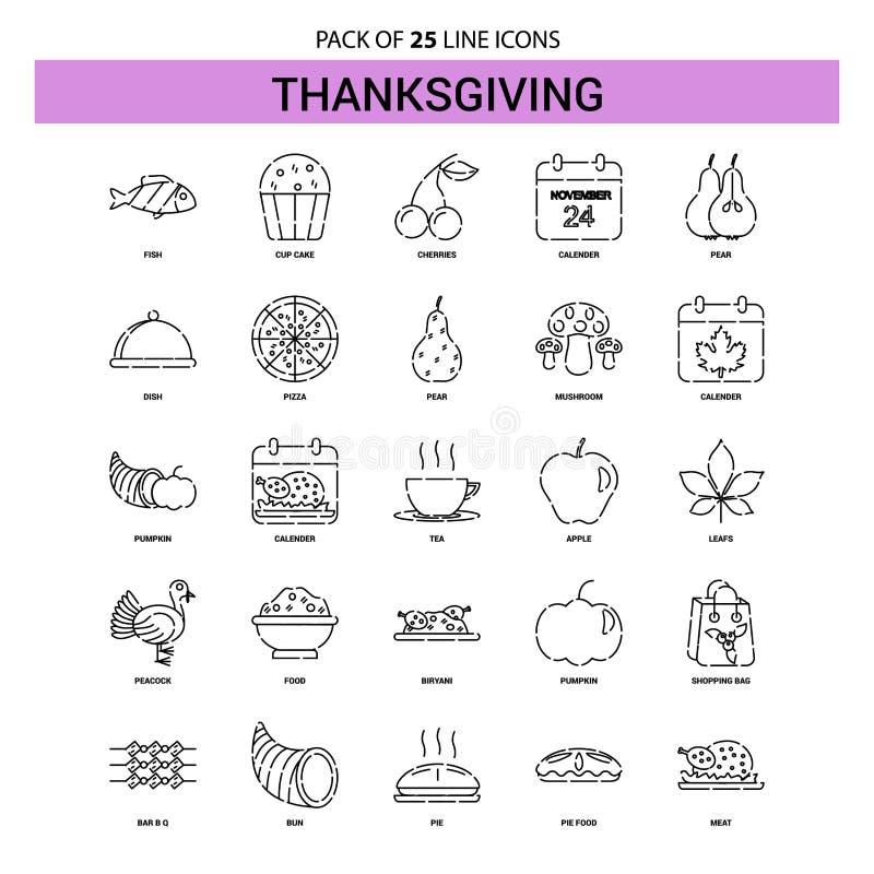 Ligne ensemble d'icône - style à tiret de thanksgiving d'ensemble 25 illustration libre de droits