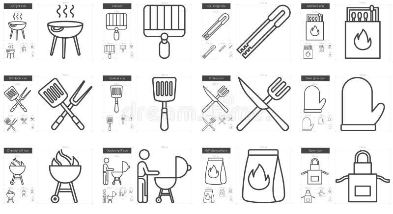 Ligne ensemble de barbecue d'icône illustration de vecteur