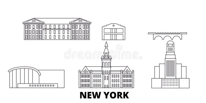 Ligne ensemble de Buffalo des Etats-Unis, New York d'horizon de voyage Vecteur de ville d'ensemble de Buffalo des Etats-Unis, New illustration stock