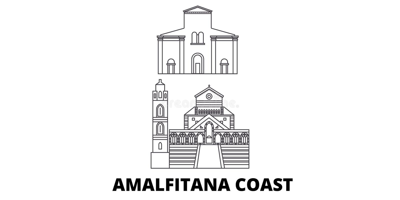 Ligne ensemble de côte de l'Italie, Amalfi d'horizon de voyage Illustration de vecteur de ville d'ensemble de côte de l'Italie, A illustration libre de droits