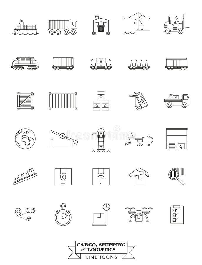 Ligne ensemble de cargaison, d'expédition et de logistique d'icône illustration stock