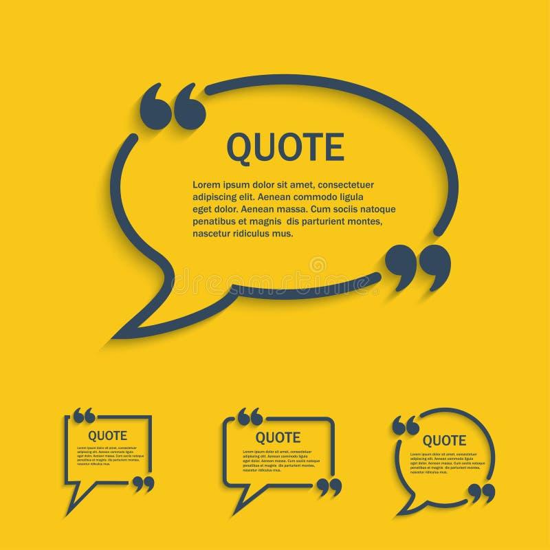 Ligne ensemble de citation de bulle de la parole illustration de vecteur