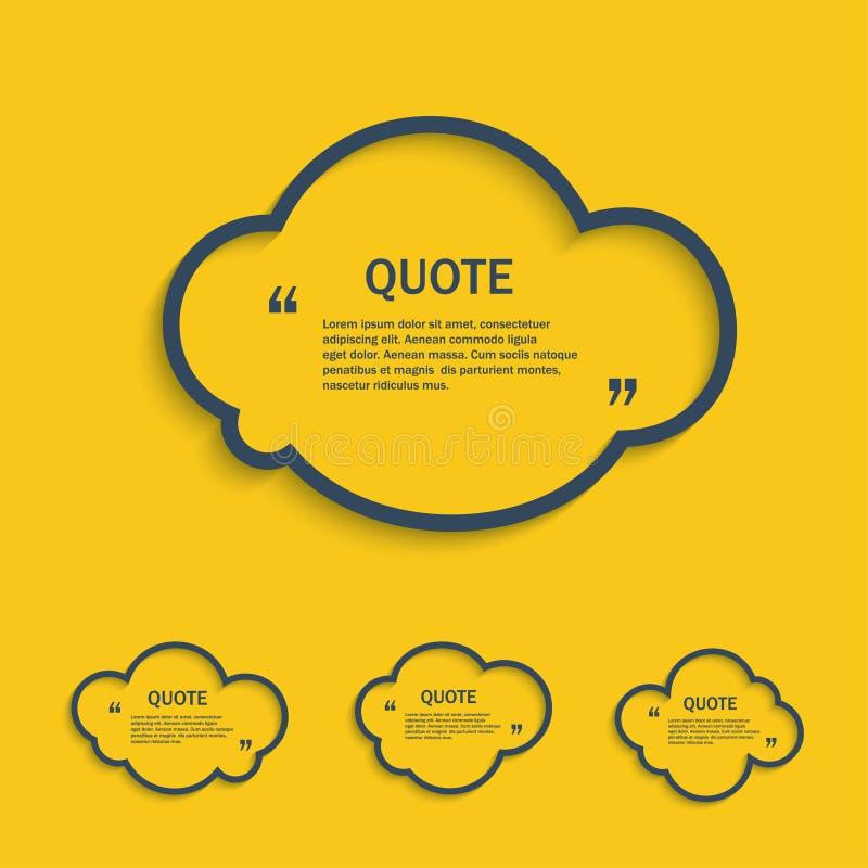 Ligne ensemble de citation de nuage illustration stock