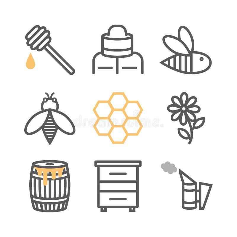 Ligne ensemble de l'apiculture d'icône Icônes de miel, ligne style mince illustration de vecteur