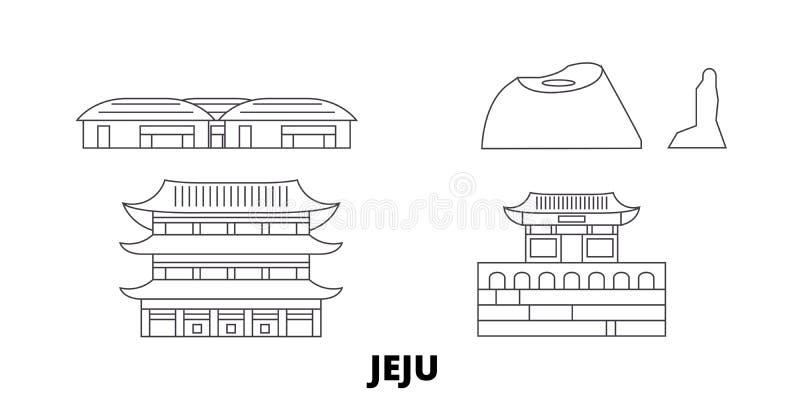 Ligne ensemble de la Corée du Sud, Jeju d'horizon de voyage Illustration de vecteur de ville d'ensemble de la Corée du Sud, Jeju, illustration stock