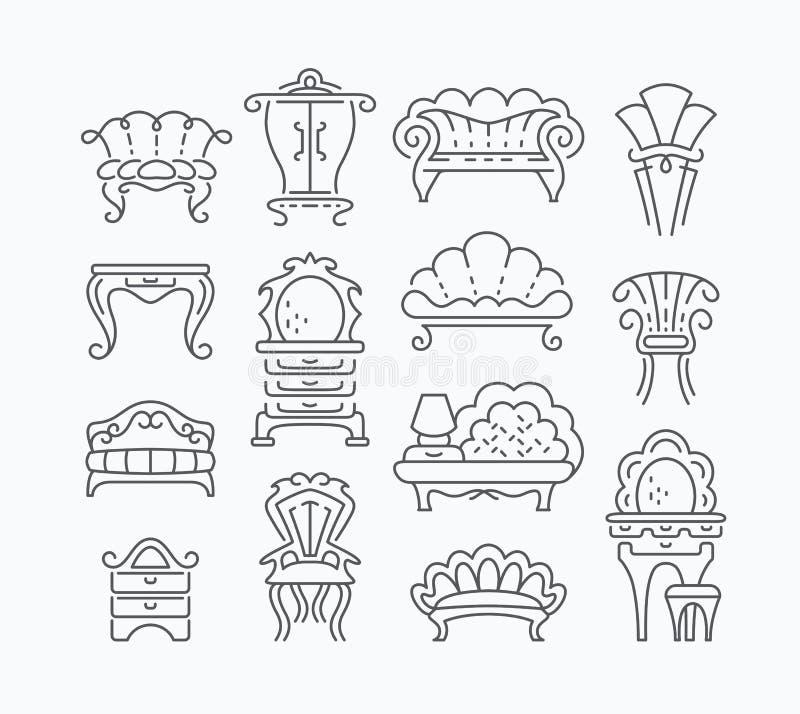 Ligne ensemble de rétros articles graphiques de meubles illustration libre de droits