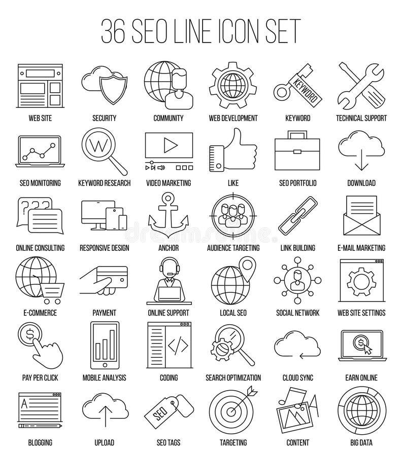 Ligne ensemble de SEO d'icône illustration stock