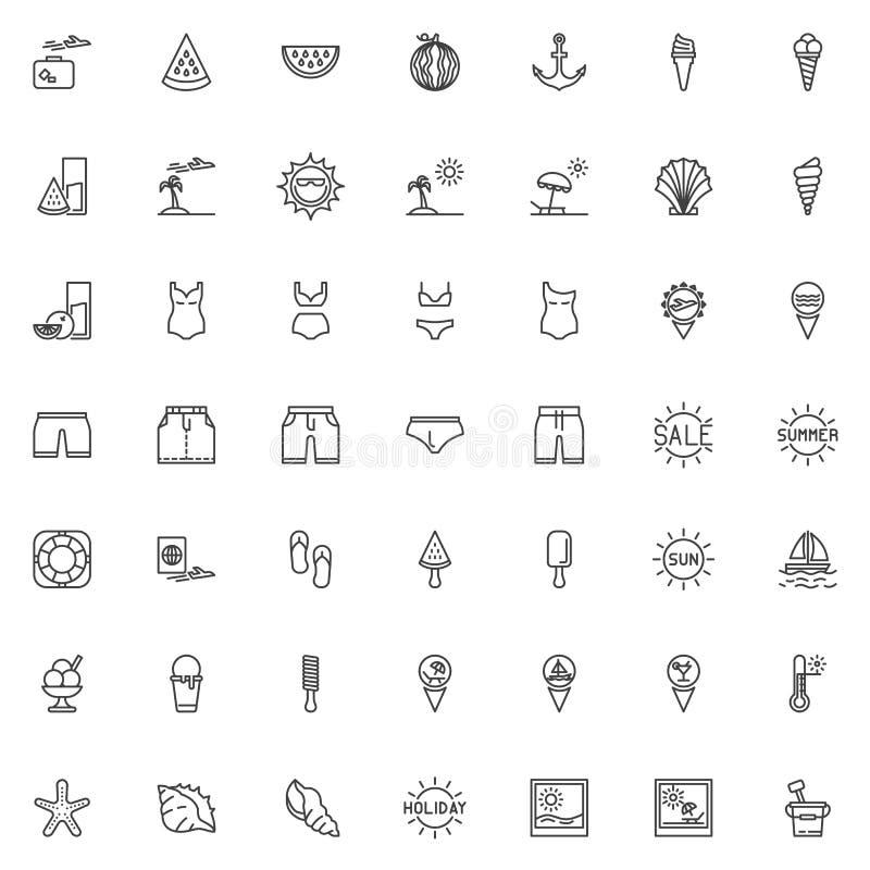 Ligne ensemble de vacances d'été d'icônes illustration libre de droits