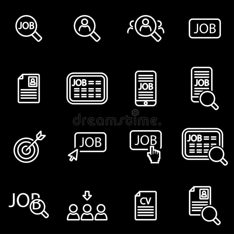 Ligne ensemble de vecteur d'icône de recherche d'emploi illustration libre de droits