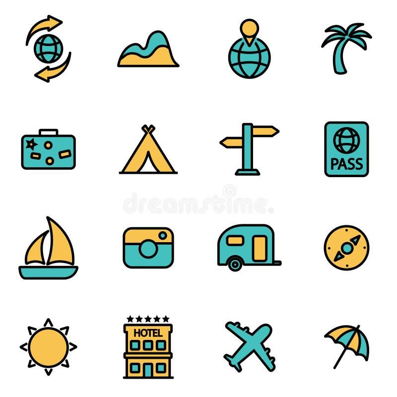 Ligne ensemble de vecteur d'icône de voyage illustration de vecteur