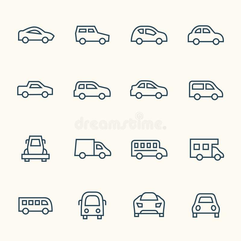 Ligne ensemble de voiture d'icône illustration stock