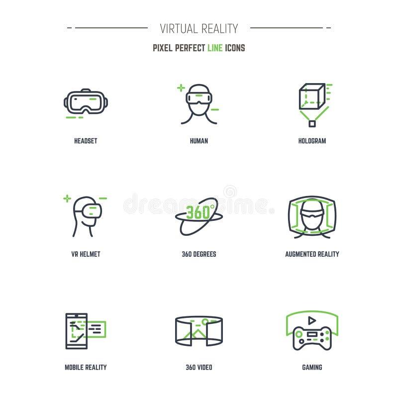 Ligne ensemble de 9 VR d'icône illustration libre de droits