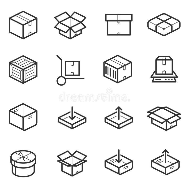 Ligne ensemble mince de paquet de vecteur d'icônes Boîtes, caisses, récipients illustration de vecteur