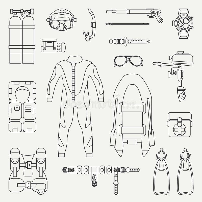 Ligne ensemble sous-marin d'icône d'équipement de plongeur de vecteur de plaine plate rétro Type de dessin animé Plage d'océan, m illustration de vecteur