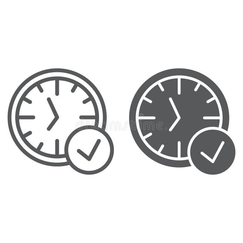 ligne et icône Dans fois de glyph, montre et compte à rebours, signe d'horloge, graphiques de vecteur, un modèle linéaire sur un  illustration de vecteur