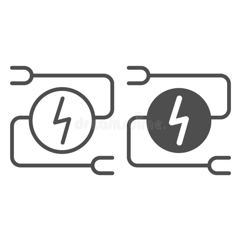 Ligne et icône de câblage électriques de glyph Illustration de vecteur d'adaptateur de voiture d'isolement sur le blanc Style d'e illustration libre de droits