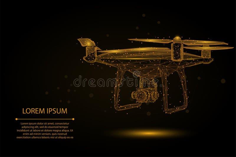 Ligne et point abstraits Quadrocopter de mâche Bas poly bourdon polygonal du vol 3D illustration libre de droits