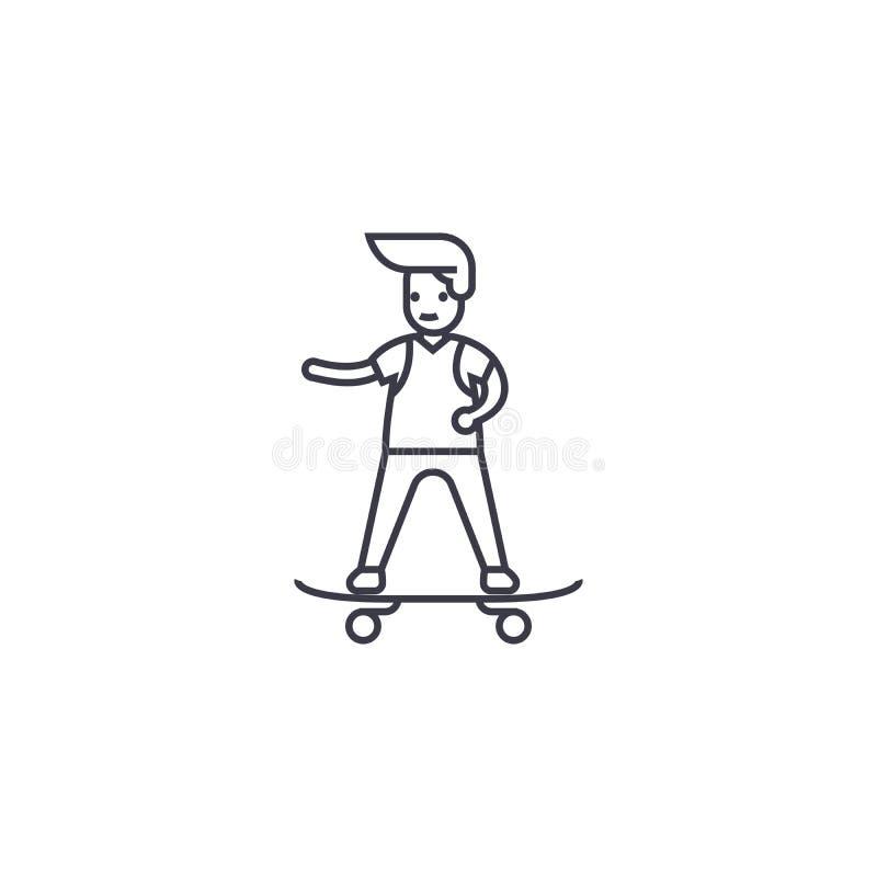 Ligne faisante de la planche à roulettes icône, signe, illustration de vecteur de garçon sur le fond, courses editable illustration stock