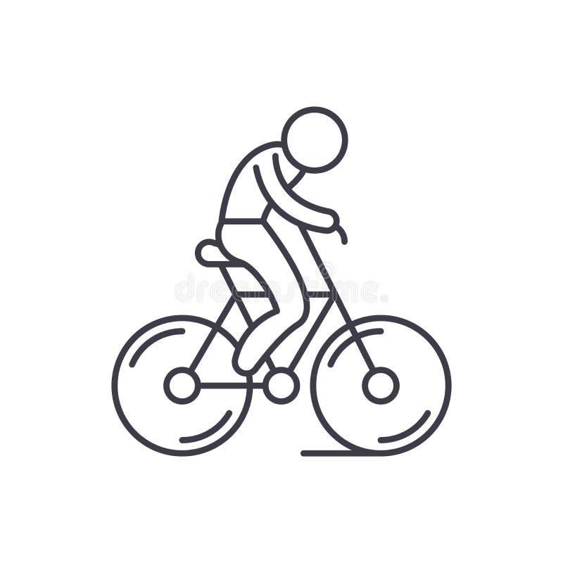 Ligne faisante du vélo concept d'icône Illustration linéaire faisante du vélo de vecteur, symbole, signe illustration stock