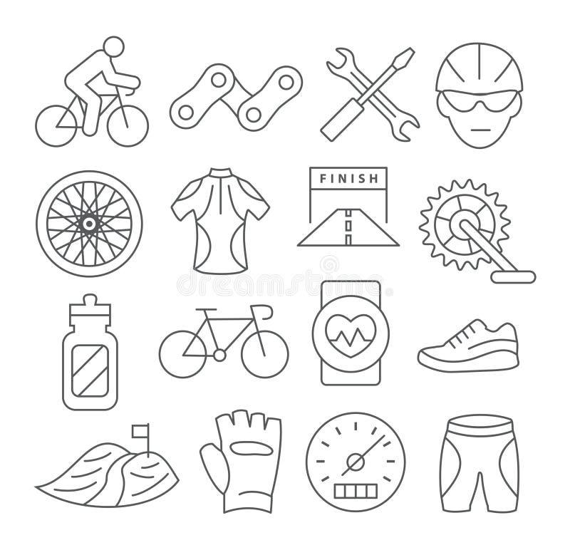 Ligne faisante du vélo icônes illustration stock