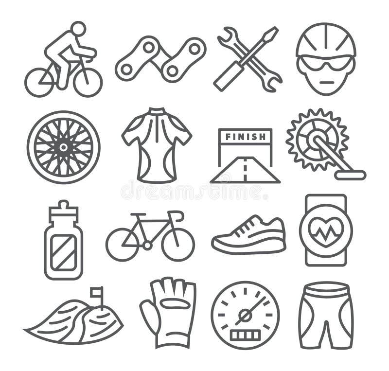 Ligne faisante du vélo icônes illustration libre de droits