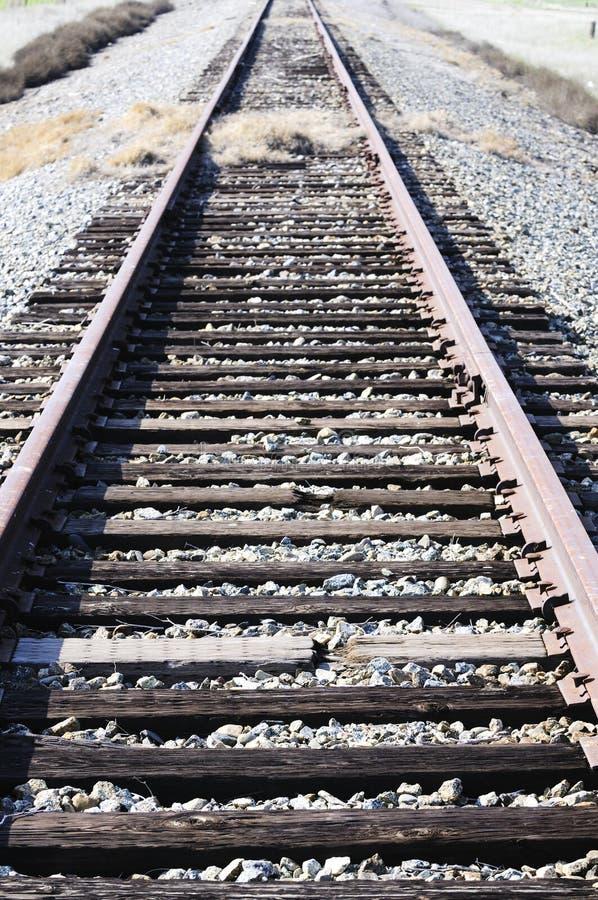 Ligne ferroviaire envahie avec des herbes photographie stock libre de droits