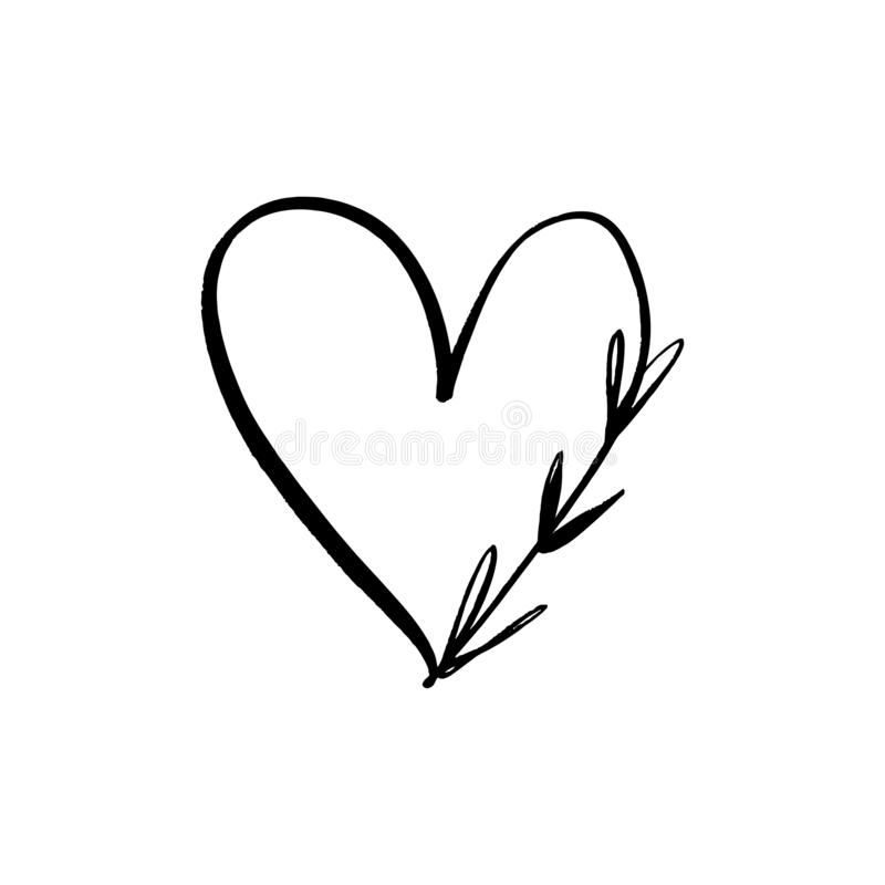 Ligne florale clipart (images graphiques) minimalistic de vecteur de logo de coeur Élément de conception pour le fleuriste, le fl illustration libre de droits