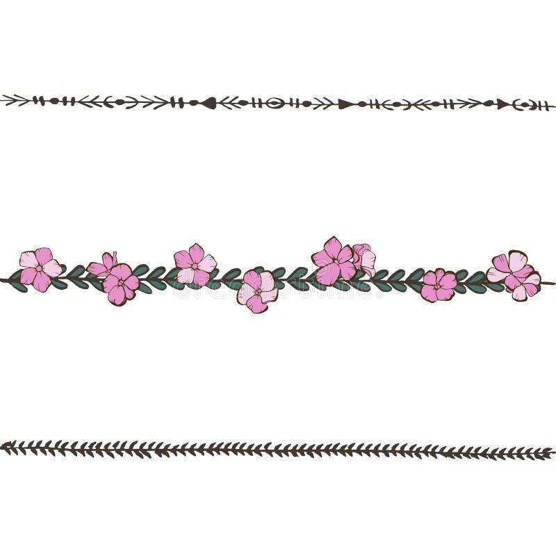 Ligne florale de griffonnage avec les fleurs roses de phlox Éléments de conception de fleur, frontière florale Illustration de ve illustration libre de droits