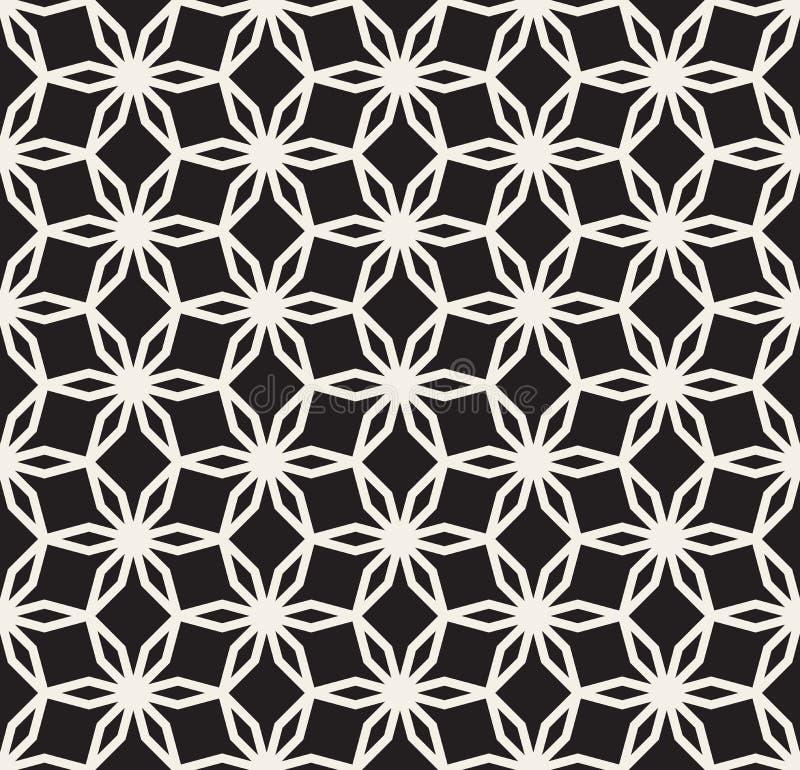 Ligne florale hexagonale sans couture noire et blanche modèle de dentelle d'étoile de vecteur illustration de vecteur