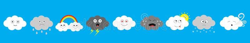 Ligne foncée blanche d'ensemble d'icône d'emoji de nuage Nuages pelucheux Sun, arc-en-ciel, vent, baisse de pluie, coup de foudre illustration libre de droits