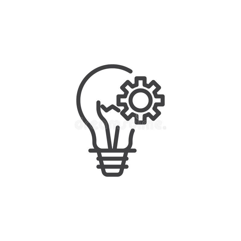 Ligne fonctionnante icône de lampe d'idée d'affaires illustration de vecteur