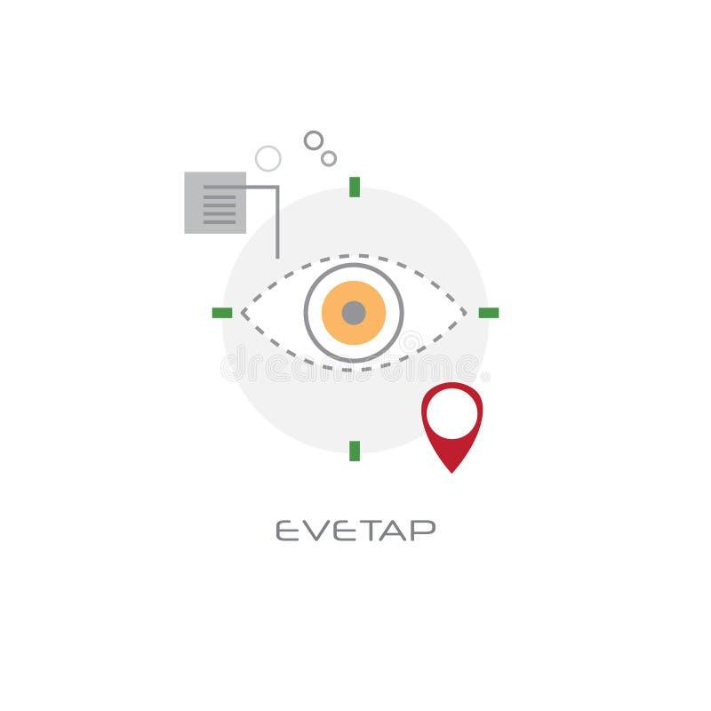 Ligne fond blanc de concept de vision de dispositif de caméra d'oeil d'avant d'Eyetap de style illustration de vecteur