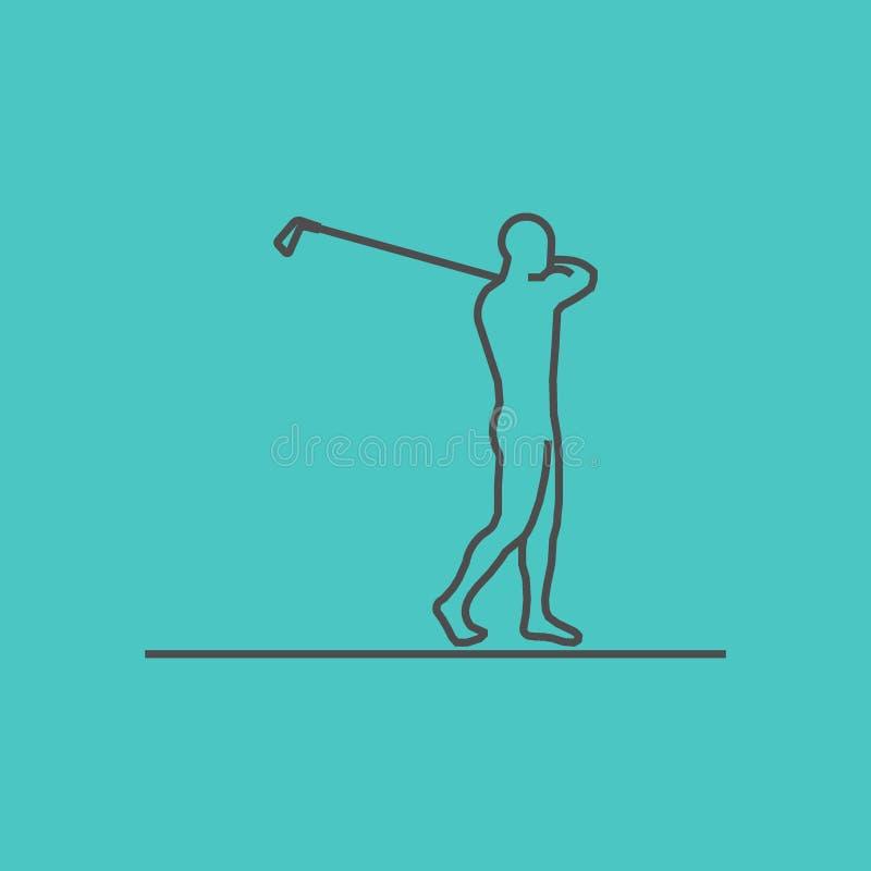 Ligne fraîche icône de golf illustration de vecteur