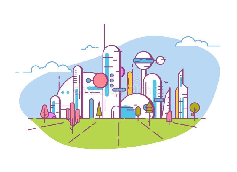 Ligne futuriste bannière de vue de ville de style illustration stock