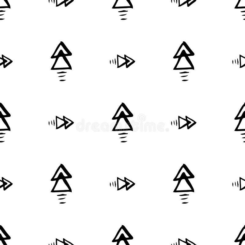 Ligne géométrique modèle sans couture abstrait monochrome avec le modèle tiré par la main avec la flèche, rayure, ligne, illustra illustration stock