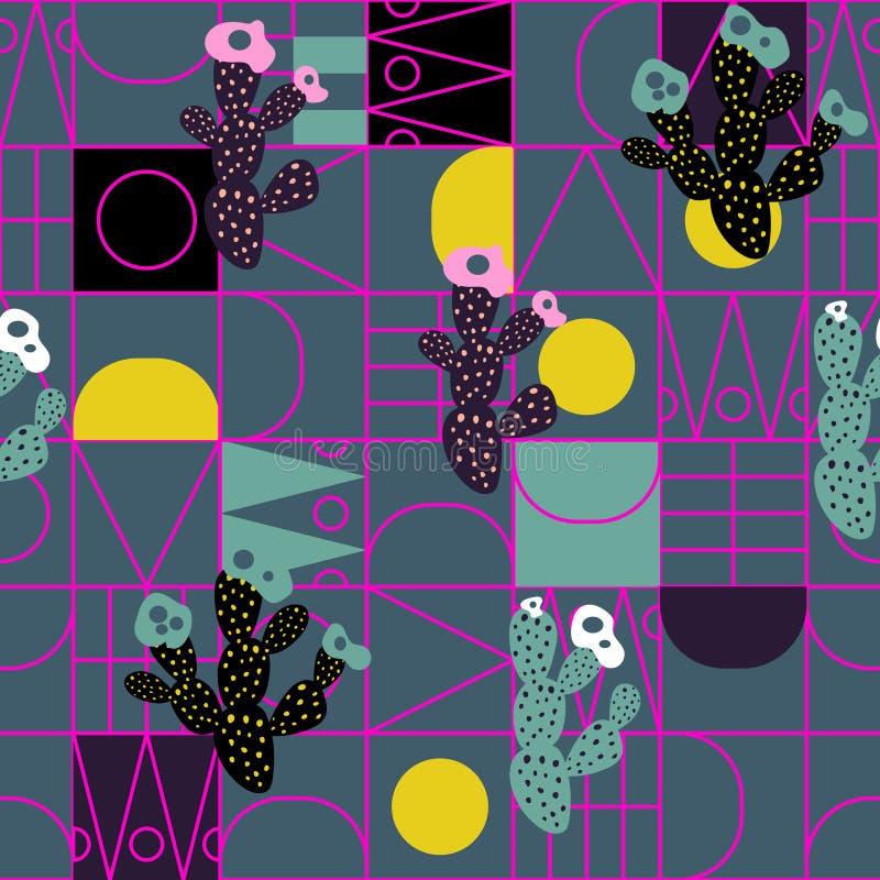 Ligne géométrique modèle sans couture moderne de cactus de vecteur de formes illustration libre de droits