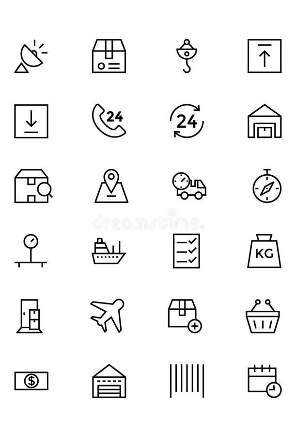 Ligne globale icônes 2 de vecteur de logistique illustration libre de droits
