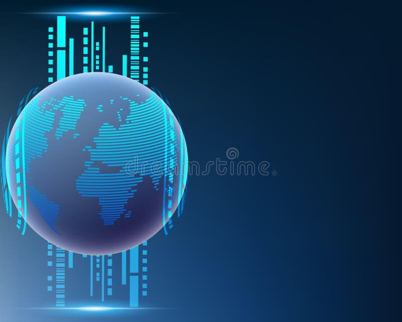 Ligne globale système de réseau de transmission de données de nuage du monde de qualité illustration stock