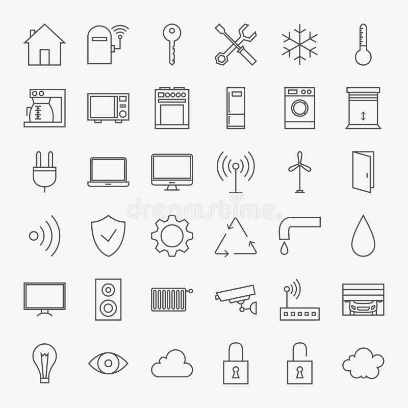 Ligne grand ensemble d'icônes à la maison futées illustration libre de droits